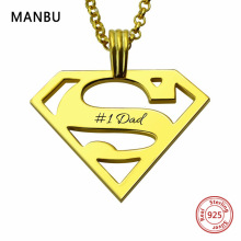 MANBU personalized custom superman necklace sterling silver chain necklace for women men jewelry anniversary gift free shipping manbu custom infinity knot ring with moonstone 925 sterling silver ring for women fashion jewelry anniversary gift free shipping