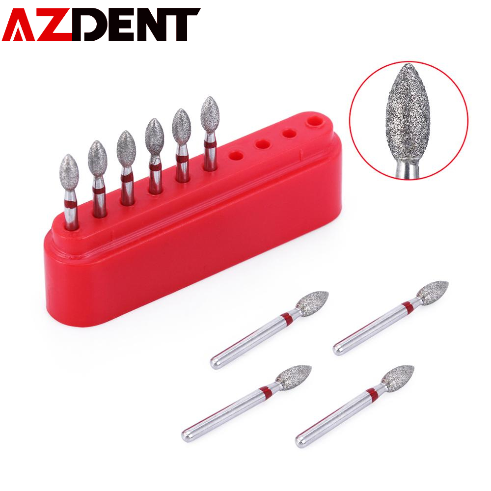 AZDENT 10pcs/set Dental Diamond Bur Drills  For High Speed Handpiecess Medium Dentist Tools Dental Diamond Burs Drills 368-023F