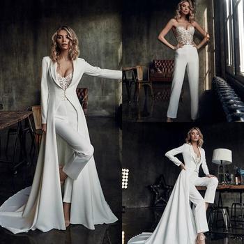 Illusion Top Lace Pant Suit Wedding Dresses with Jacket Sweetheart Boho vestidos de novia Bridal Gow