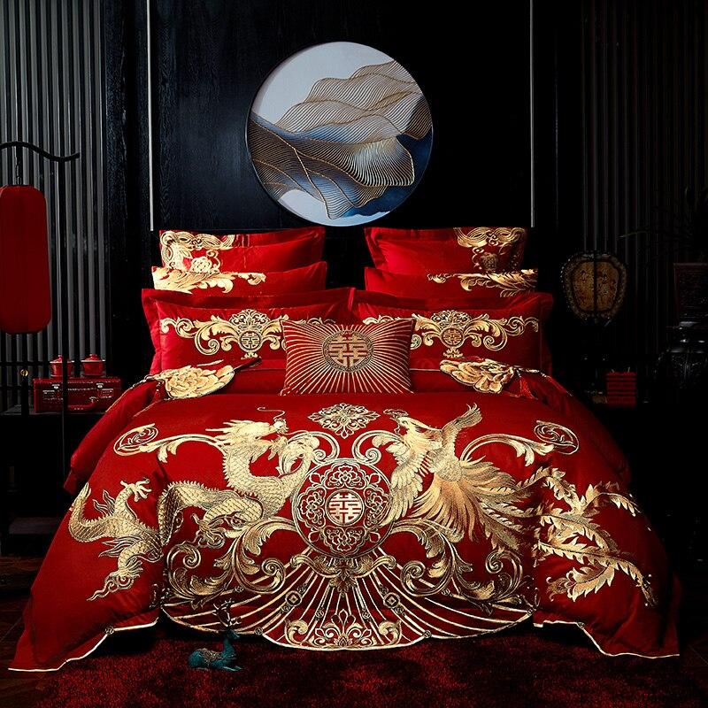 Luxe or Phoenix Loong broderie chinois mariage 100% coton parure de lit housse de couette couvre-lit taies d'oreiller lit drapeau 5 pièces