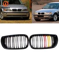 POSSBAY BMW 3 시리즈 E46 용 프론트 센터 그릴 318i/320d/330Xi/316i/320i 투어링 2001-2006 Facelift Double Slats Hood Grille