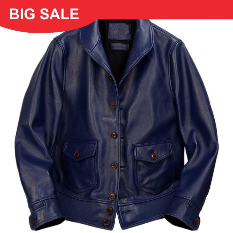 2020 Blue Men American Classic 1920s Leather Jacket Single Breasted Plus Size XXXXL Genuine Cowhide Winter Slim Fit Leather Coat