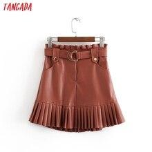 Tangada женские плиссированные юбки из искусственной кожи faldas mujer с поясом женская элегантная мини-юбка для девушек 3H37