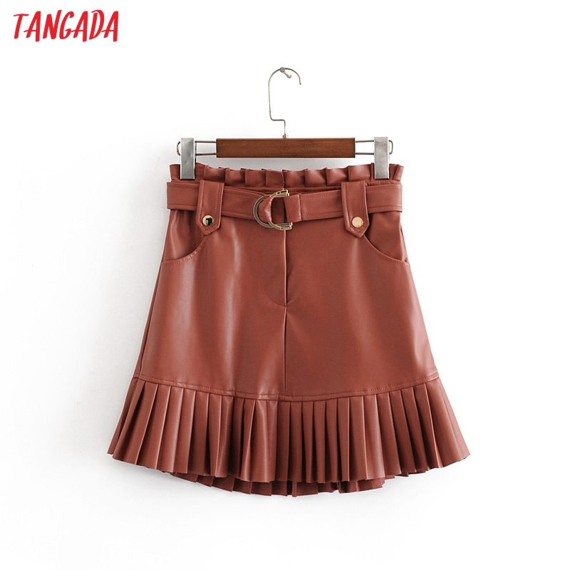Tangada Women Pleated Skirts Faux Leather Faldas Mujer With Belt Female Elgant Mini Skirt Ladies 3H37