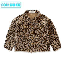 2020 Spring Autumn Fashion Infant Kids Baby Girls Denim Jacket Outfits Leopard Print Long Sleeve Coat Outfits 2-7Y Jean Jackets cheap FCLHDWKK COTTON Children REGULAR Turn-down Collar Outerwear Coats Full Fits true to size take your normal size Heavyweight
