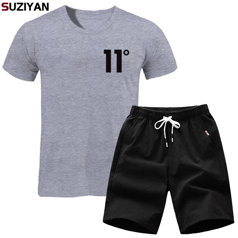 T-Shirt Men's Set Summer 2019 New High Quality Men's Brand T-shirt Set 2 Pieces Casual Short-sleeved Fashion Printing T-shirt