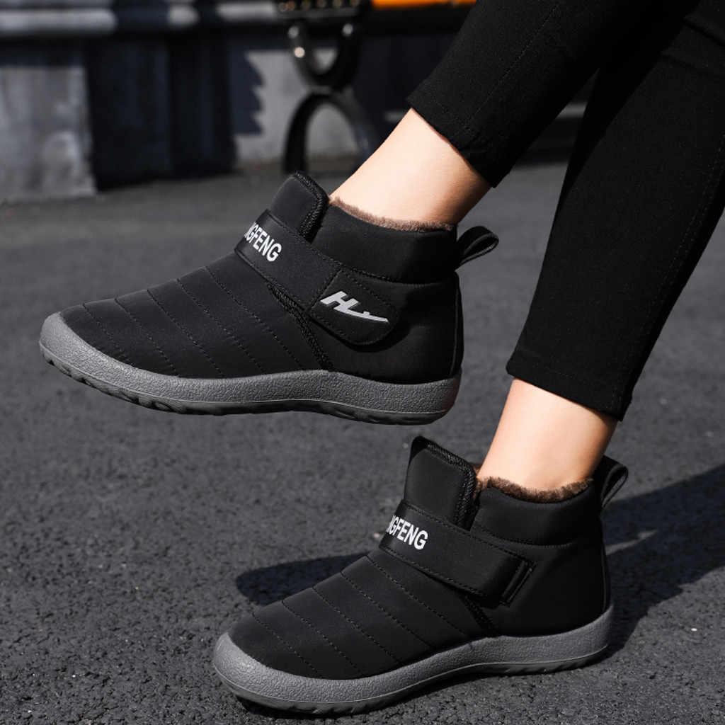 Bottes d'hiver femmes cheville courte bottine imperméable chaussures sans lacet peu profonde chaussures de neige chaude Buty Damskie Bottines Femme bottes femmes