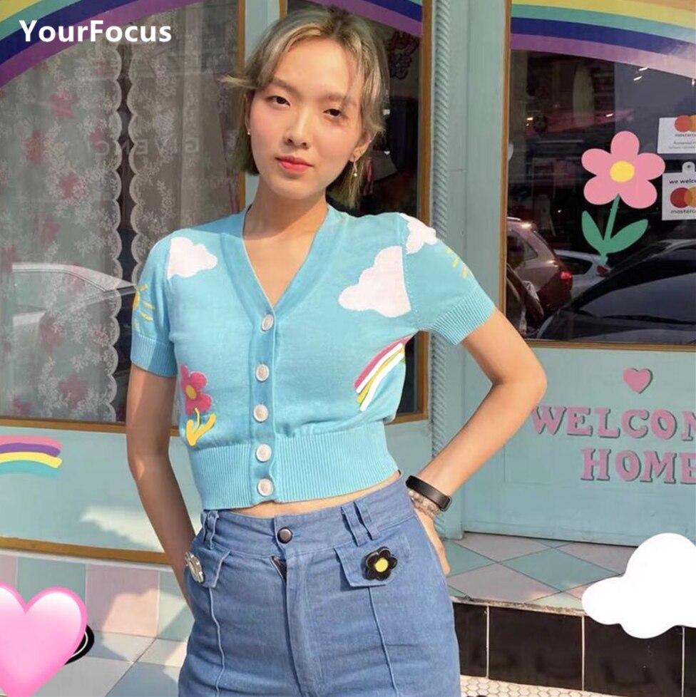 Женская футболка с коротким рукавом в Корейском стиле, в стиле ретро, с облаками, радужными цветами, СИНИЕ ВЯЗАНЫЕ укороченные топы Футболки      АлиЭкспресс