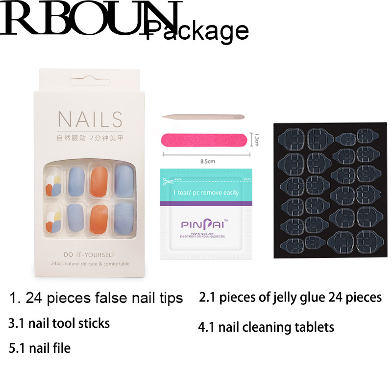 Fake Nails Art Nail Tips Press on False with Designs Set Full Cover Artificial Short Packaging Kiss Display Clear Tipsy Stick 2