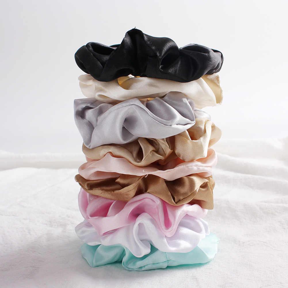 Moda damska jednolity jedwab Scrunchies Lady proste elastyczne opaski na głowę satynowe opaski do włosów dziewczyny opaska do włosów gumka do włosów akcesoria do włosów