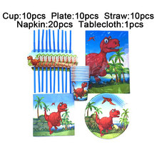 Red Dinosaur Birthday Party Supplies Set Paper Plates Cup Napkins Kids Birthday Party Decorations Tablecloth Plastic Straws 51pc children s birthday dinosaur cutlery party supplies set paper hat paper cup paper tablecloth gift bag props