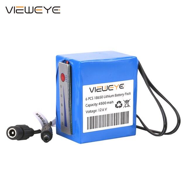 ViewEye pack de batterie Lithium 12V professionnel, avec indicateur 4500mAh/6400mAh pour détecteur de poisson, caméra vidéo de pêche sous marine