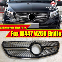 For Mercedes Benz V Class W447 Diamonds grill grille ABS Gloss Black V250 V260 Front Bumper Racing grills Without Sign 2016-2019 все цены