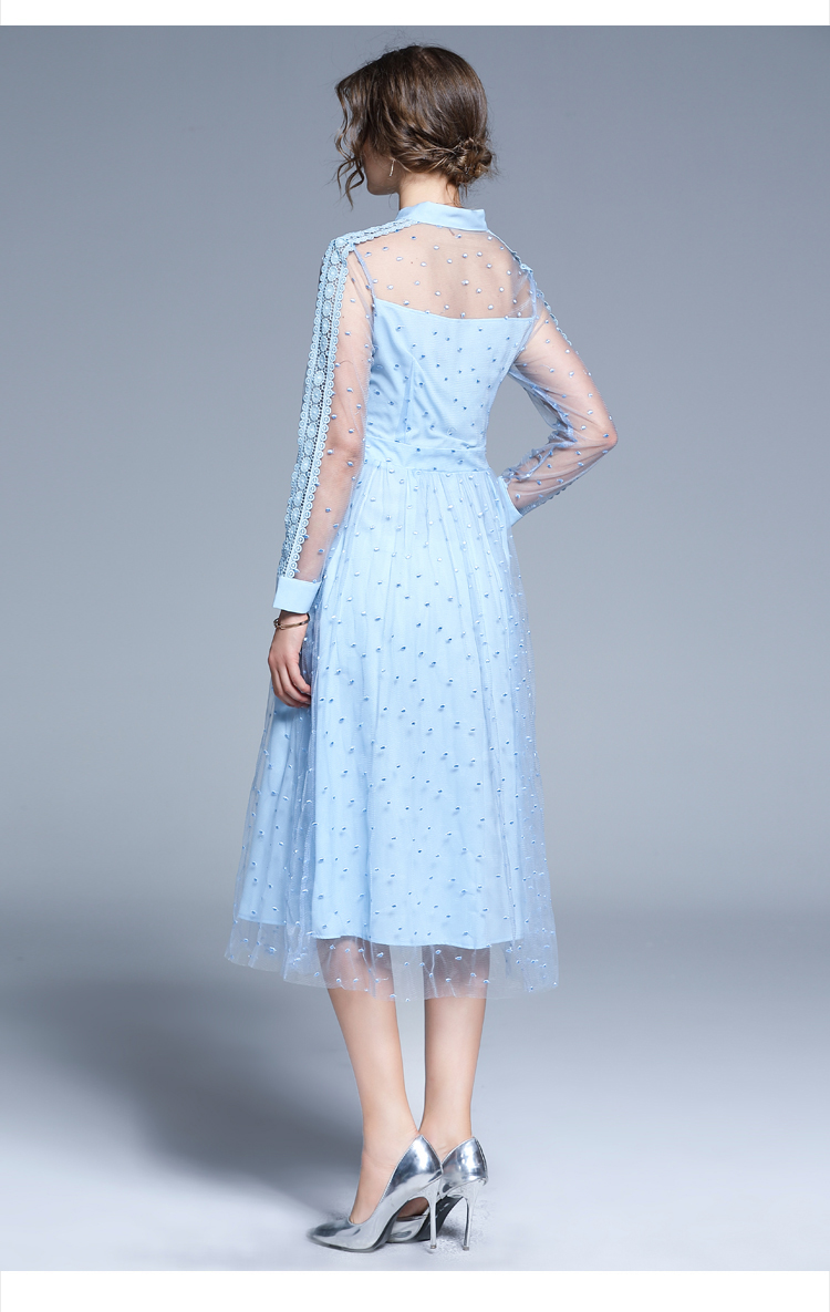 Blue Lace Patchwork Mid-calf A-line Elegant Office Dress