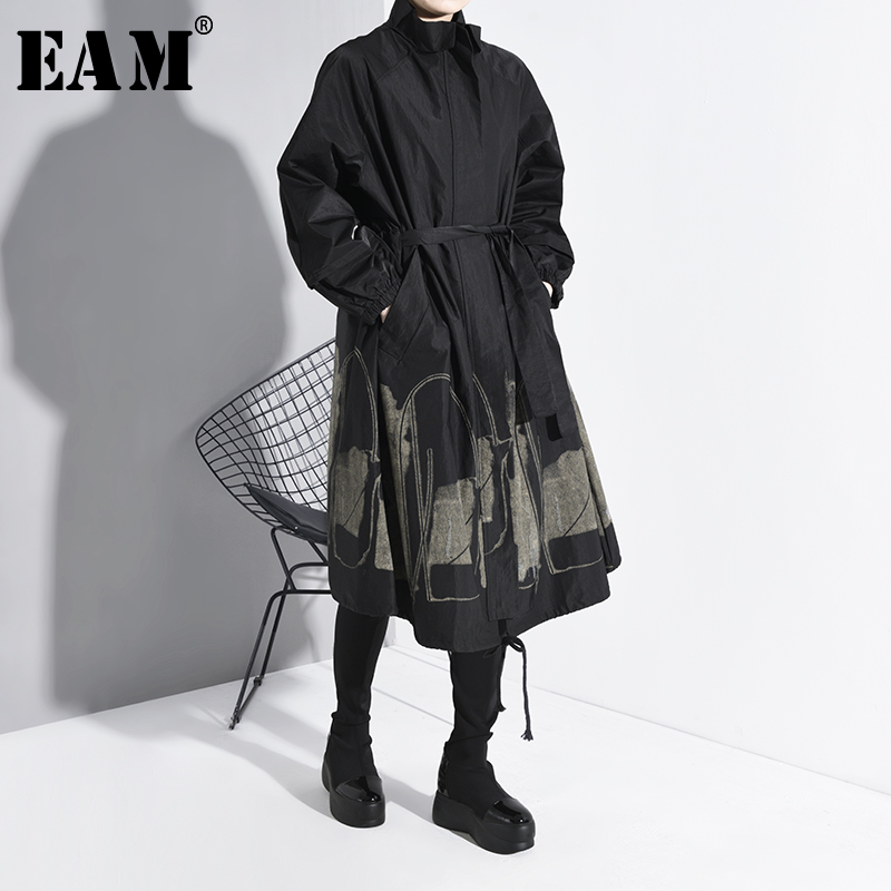 [EAM] Women Black Pattern Print Big Size Trench New Stand Collar Long Sleeve Loose Fit Windbreaker Fashion Spring 2020 1K23601