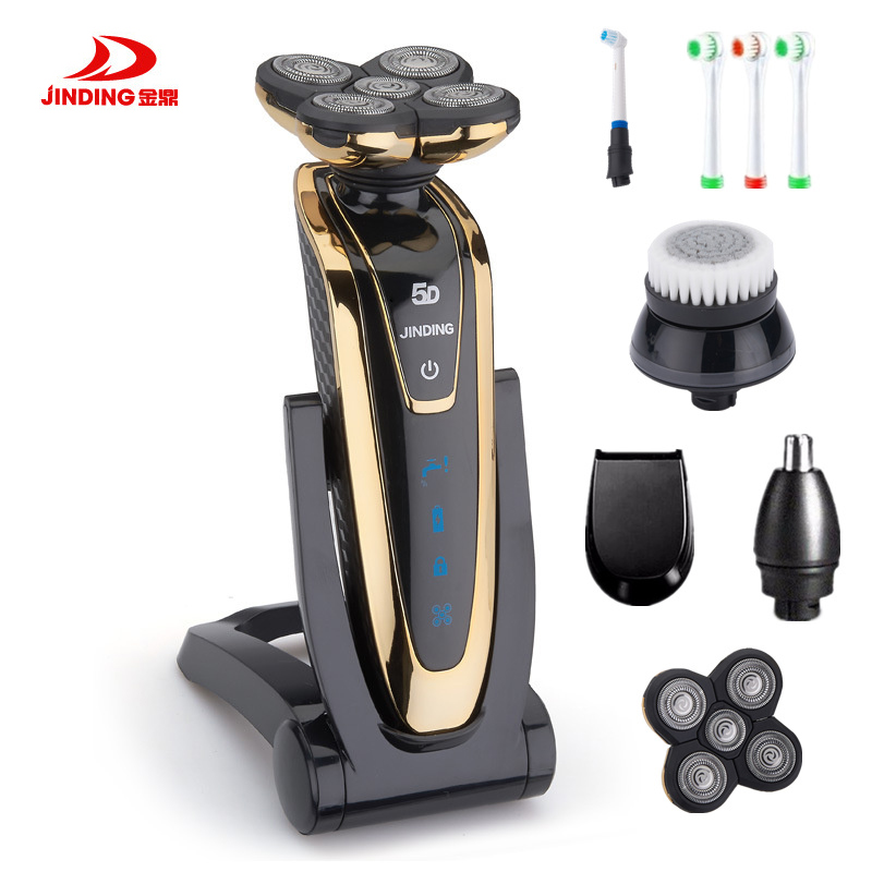 JINDING Rechargeable Whole Body Washing Electric Shaver 5D Floating Head Shaving Machine for Men Waterproof Electric Razor D40 image