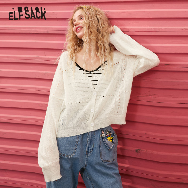 ELFSACK White Solid Cut Out Single Button Cardigan Women Sweaters 2020 Spring Green Mohair Long Sleeve Korean Ladies Basic Top