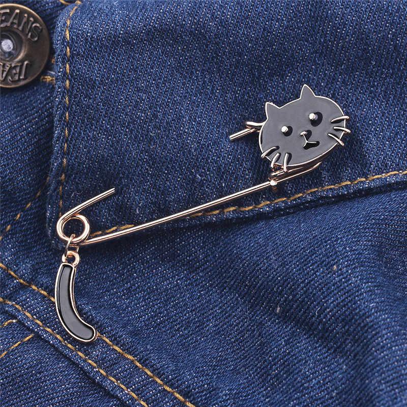 Lucu Kartun Hitam Putih Kucing Wajah Ekor Logam Bros Pin DIY Sweater Pin Lencana Hadiah Perhiasan untuk Wanita Gadis anak-anak Hadiah