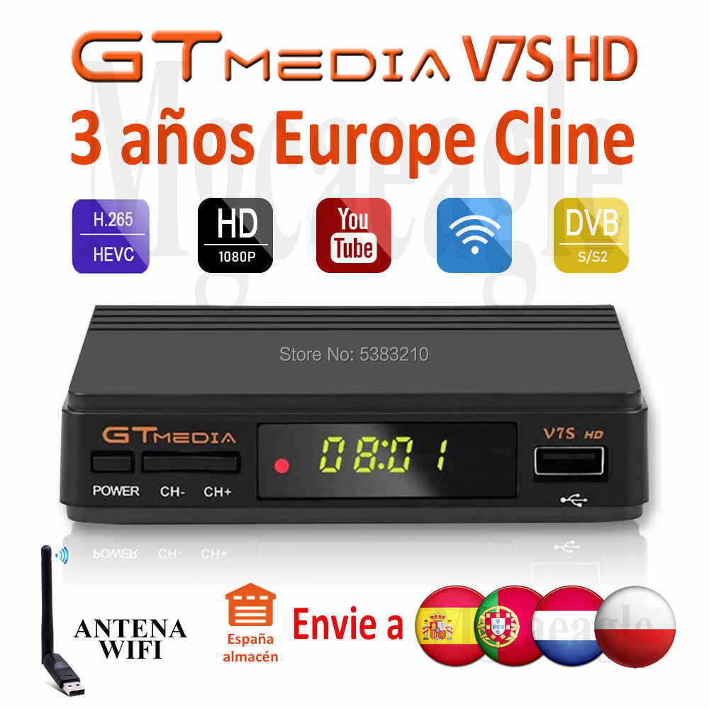 Fhd 1080P Gtmedia V7S Hd Europa Cline Satelliet Tv Ontvanger Gratis 3 Jaar Europa Cline Spanje Upgrated Freesat V7 hd Tv Decoder