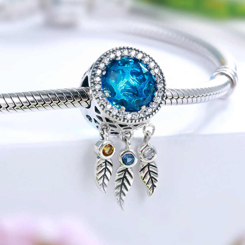 925 sterling silver Dreamcatcher Blue Stone beads fit authentic pandora charms bracelet diy fine jewelry Making for women gift