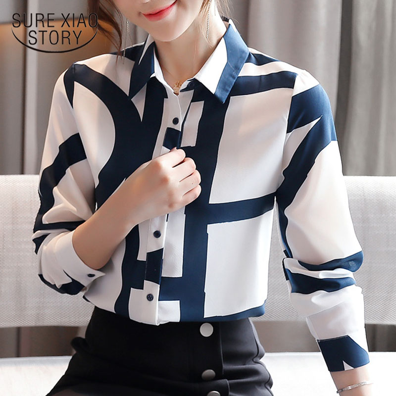 Fashion Office Lady Cardigan Print Blouses Chiffon Shirts Women Korean Loose Long Sleeve Shirts 2021 Autumn Women Blusas 10789 3
