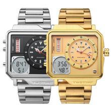 Ebay Горячая Распродажа квадратные функциональные Subdials SS ремешок автоматические мужские часы