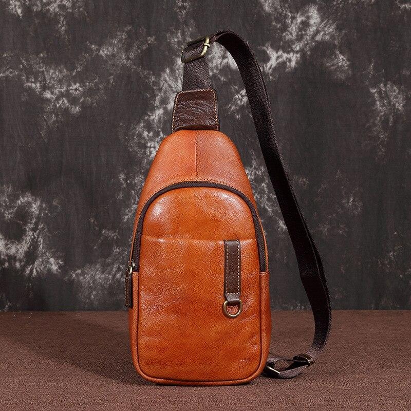 Sac de poitrine en cuir véritable homme sac à dos unique sac à dos bandoulière multi-poches Vintage haute qualité hommes un sac à bandoulière