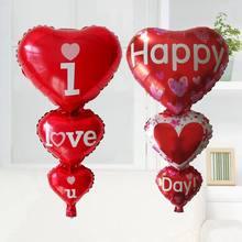 Ballons I Love You et Happy Day, 1 pièce, fournitures de fête, cœur, fiançailles, anniversaire, mariage, saint-valentin, décoration, cadeau
