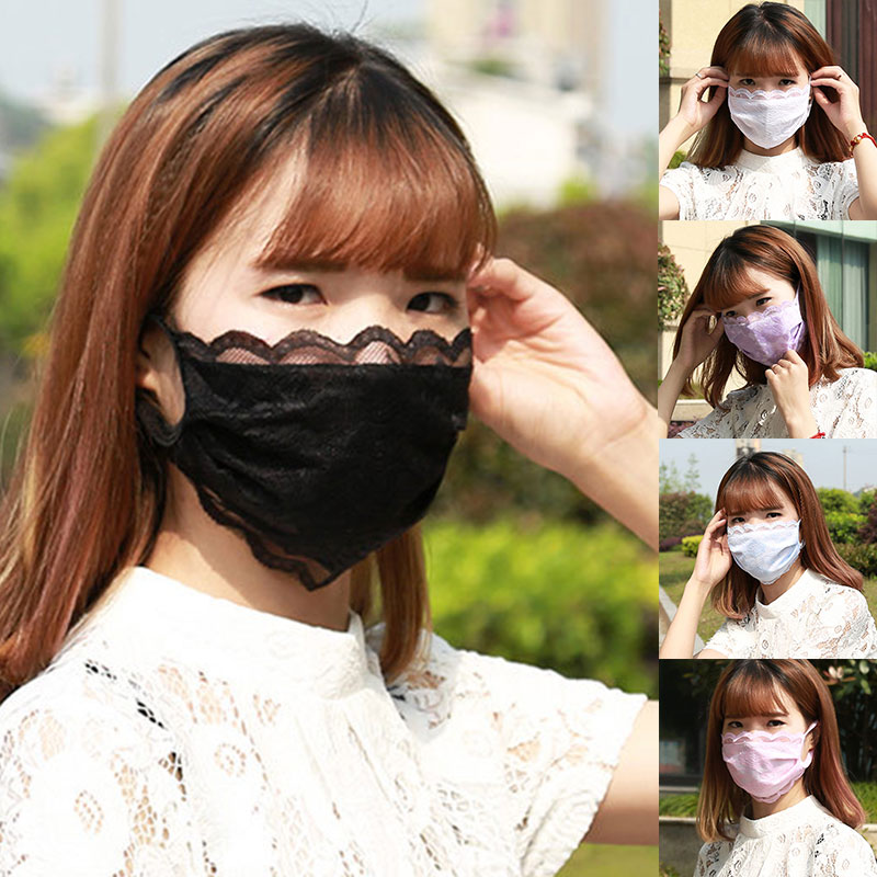 Spring Summer Sunscreen Mouth Mask Vintage Lace Masks Lady PM 2.5 Mouth-muffle Breathable Dustproof Cotton Lace Mouth Mask