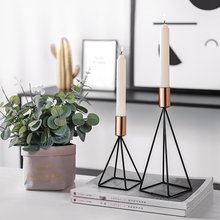 Nordic Simple Geometric Decoration Candlestick Decoration Line Beauty Wrought Iron Creative Candle Holder Home Home Accessories
