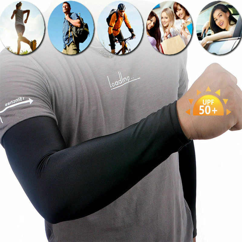 1 Pair Men Arm Sleeves Cover Sun Protection Outdoor Sports Arm Warmer Breathable