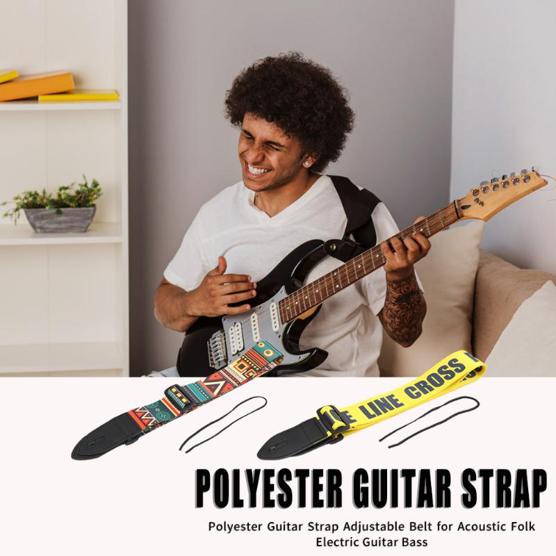 Polyester Guitar Belt Yellow/Red Adjustable Guitar Straps With PU Leather Ends For Guitar Stringed Instruments Parts