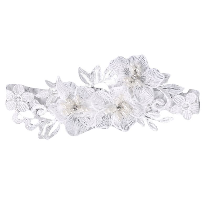 Western Retro Wedding Bridal Sexy Leg Garters Embroidery Floral Lace Applique Rhinestone Beaded Jewelry White Thigh Ring