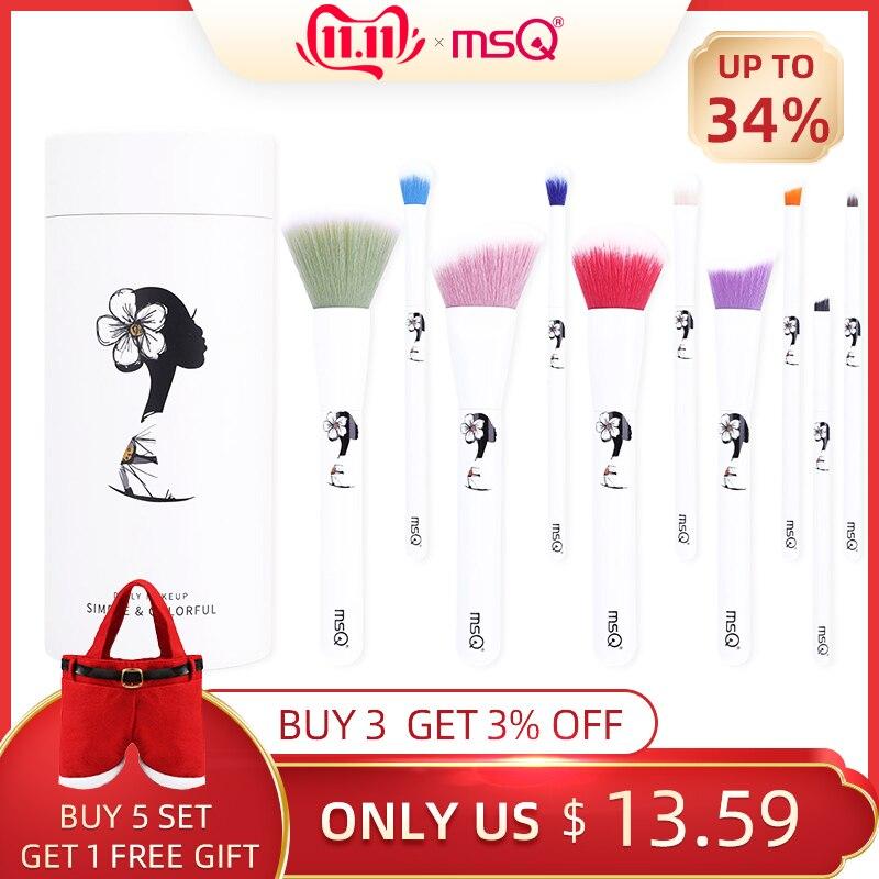 MSQ 10pcs Makeup Brushes Set Colorful Foundation Concealer Eyeshadow Make Up Brush pincel maquiagem Daily Makeup Tools