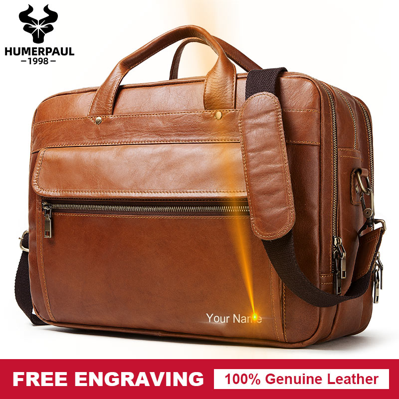 Free Engraving 100% Genuine Leather Men's Briefcase Business Handbag Laptop Large Shoulder Bag Messenger High Quality Bolsas