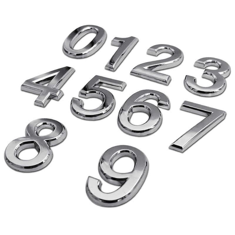 1 PC Dekorasi Rumah Alamat Hotel Pintu Stiker Tanda Plat Nomor Rumah 0-9 Perak Tiga Dimensi Nomor stiker 3.5 Cm Kualitas Tinggi