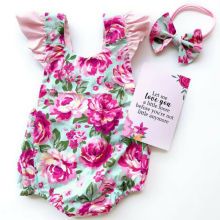 Летняя униформа-Комбинезон розовый с цветочным принтом, хлопковый передний головной убор без рукавов для новорожденных девочек, Детский комбинезон для малышей от 0 до 18 месяцев