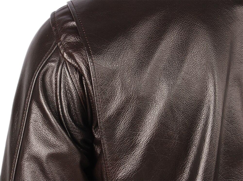 H318a066da43045c3ac62e11cab5d3eebI Vintage Distressed Men Leather Jacket Quilted Fur Collar 100% Calfskin Flight Jacket Men's Leather Jacket Man Winter Coat M253