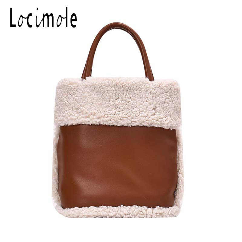 Locimole Fashion Vintage Bucket Bag for Women Korean Style Handbag Autumn and Winter Lamb Hair Shoulder Bag bolsos BIA384 PM49