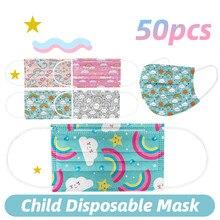 50 pces máscara facial descartável máscara de crianças arco-íris impressão criança meninas máscara mascarillas industrial 3ply orelha loop 50pc cor mista