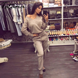 Image 2 - Tataria Women Sweater Suits and Set Autumn Winter Knitted Tracksuit Women 2 Piece Sweater Suit Pants Clothing Sets Sporting Suit