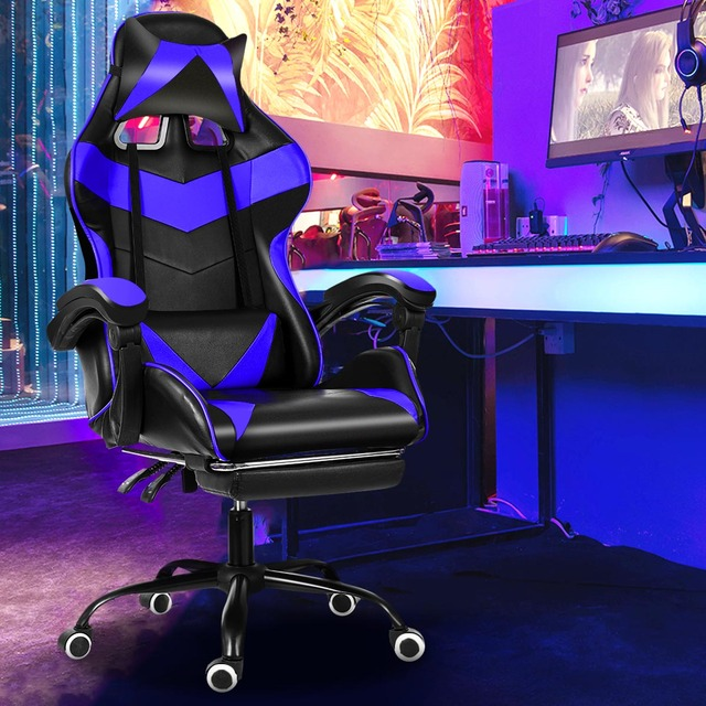 Computer Office Chair Gaming Home Leather Executive Swivel Gamer Chair Lifting Rotatable Armchair Footrest Adjustable Desk Chair 4