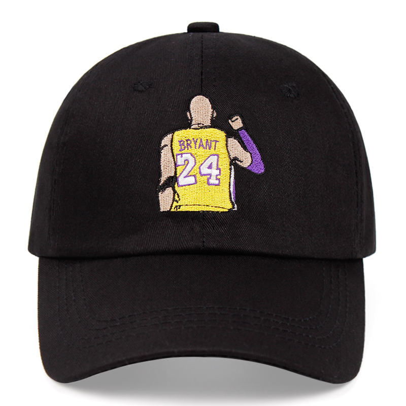 Bryant Dad Hat Kobe Black Mamba No. 24 Cotton Embroidery Baseball Cap Snapback Unisex Sun Hat Casual Hat Basketball Outdoor Caps