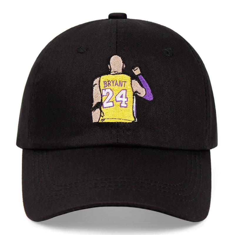 Bryant Dad Hat Kobe Black Mamba No. 24 Cotton Embroidery Baseball Cap Snapback Unisex Sun Hat Casual Hat Basketball Outdoor Caps