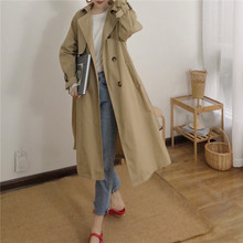 Women's windbreaker 2019 autumn new long coat casual double-breasted retro ladies coat temperament waist waist tie with split
