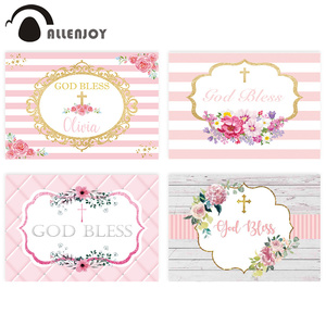 Image 1 - Allenjoy photography background pink communion birthday stripe gold frame flower backdrop Kid Event Party photocall photo studio