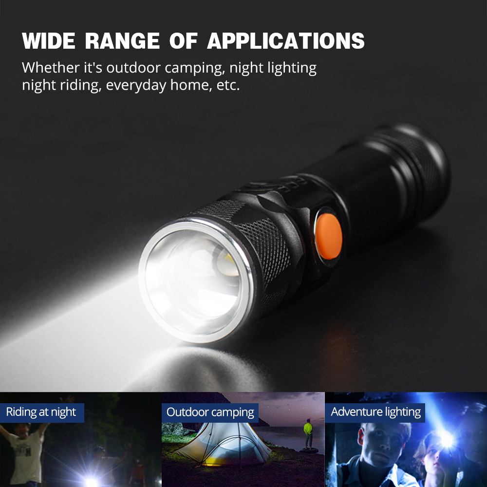 Купить с кэшбэком USB Rechargeable LED Flashlight Glare Built-in 18650 Lithium Battery Torch Waterproof Zoom Portable Light for Outdoor Lighting