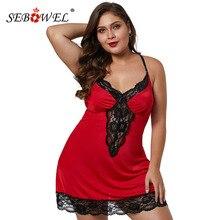 SEBOWEL Sexy kobieta Plus rozmiar bez rękawów Satin Lace tapicerka koszula nocna eleganckie panie przepuszczalność Backless Lingeries sukienka XL 5XL