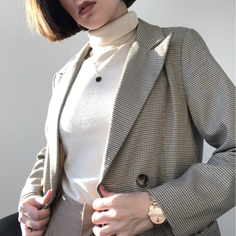 Vintage Double Breasted Office Ladies Plaid Blazer Long Sleeve Loose New Houndstooth Suit Coat Jacket Women Blazers Female 2020
