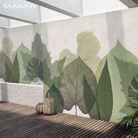 MASAR fresh natural leaves custom mural modern minimalist fashion background wall paper bedroom living room wallpaper leaf